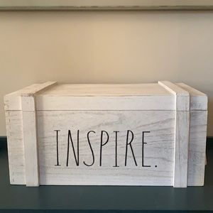 🆕 Rae Dunn INSPIRE Hinged Wood Storage Box Crate